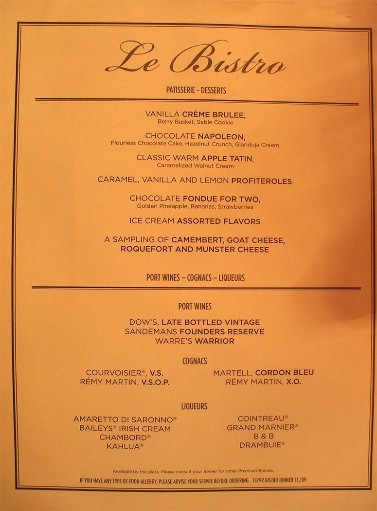 Norwegian Pearl - Menu
