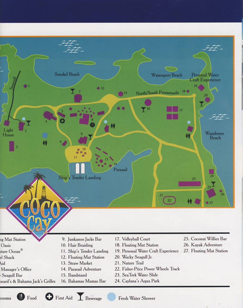 Coco Cays Tour and mentary map