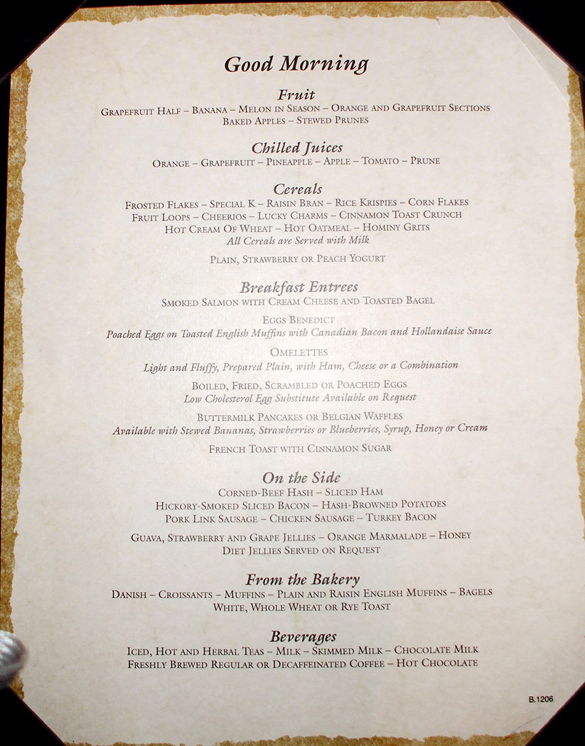 carnival valor breakfast menu
