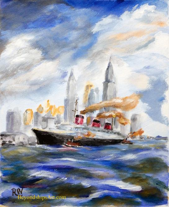Painting by Rich Wagner of SS Normandie
