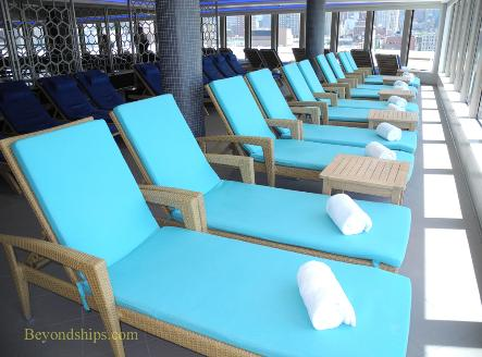 Norwegian Breakaway cruise ship, spa loungers