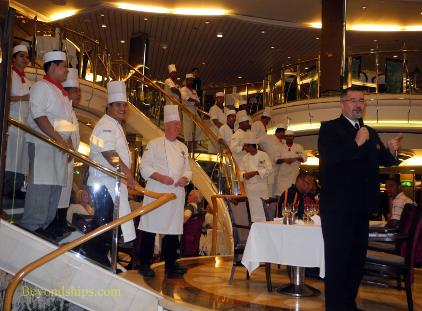 Cruise ship Legend of the Seas, main dining room, chefs