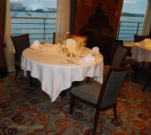 Cunard's cruise liner Queen Victoria - Britannia Restaurant -table
