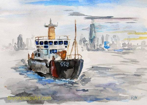 Maritime painting by Rich Wagner, Painting of USCG Kateherine Walker