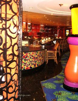 A specialty restaurant on cruise ship Norwegian Dawn.