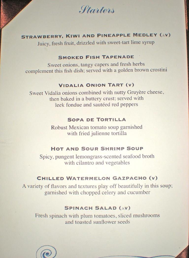 Freedom Of The Seas Main Dining Room Menu Allure Of The
