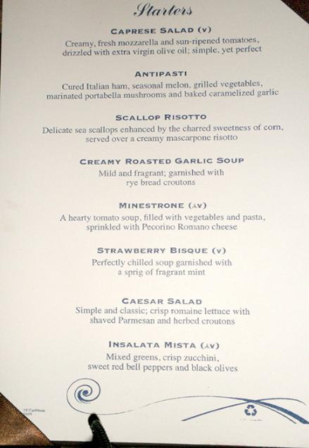 Jewel Of The Seas Menu Tides Restaurant Example 2