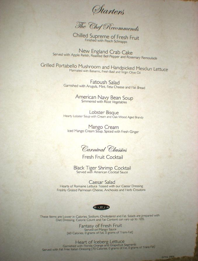 Carnival Dream Menus Main Dining Rooms