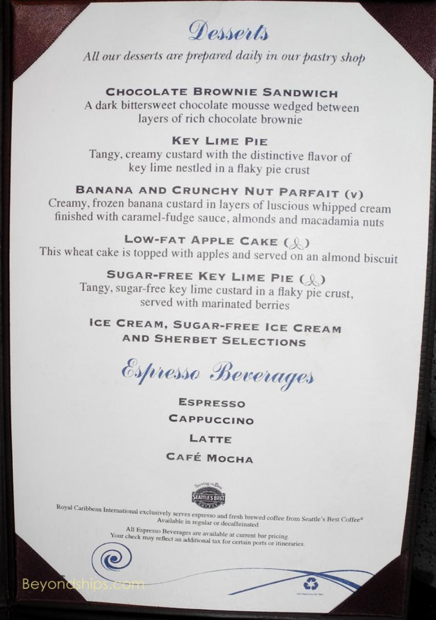 Freedom Of The Seas Main Dining Room Menu West Caribbean
