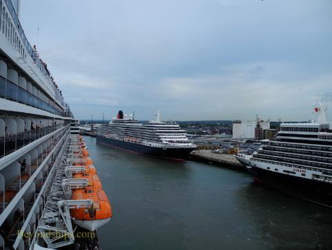 Picture of Cunard ships Queen Victoria, Queen Mary 2, and Queen Elizabeth