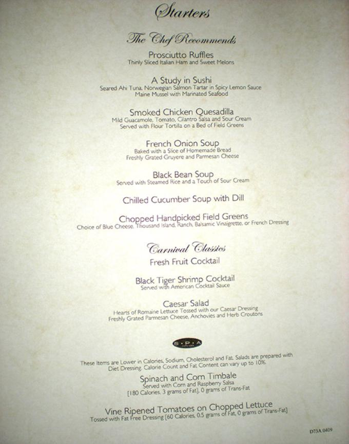 Carnival Cruise Dinner Menu 2020.Carnival Pride Dinner Menu