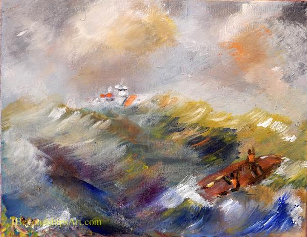 Coast Guard cutter rescuing mariners, Maritime painting by Rich Wagner,