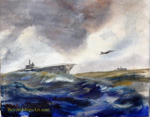 Maritime painting by Rich Wagner, aircraft carrier launching plane
