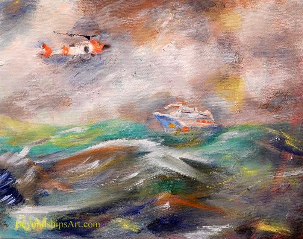Maritime painting by Rich Wagner, Coast Guard medical evacuation from cruise ship