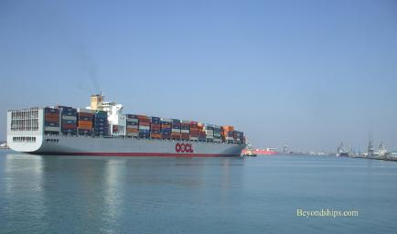 Container ship in Southampton, England