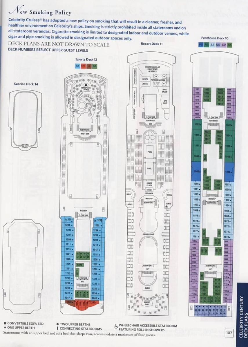 Deck Plan for the Celebrity Century Cruise Ship