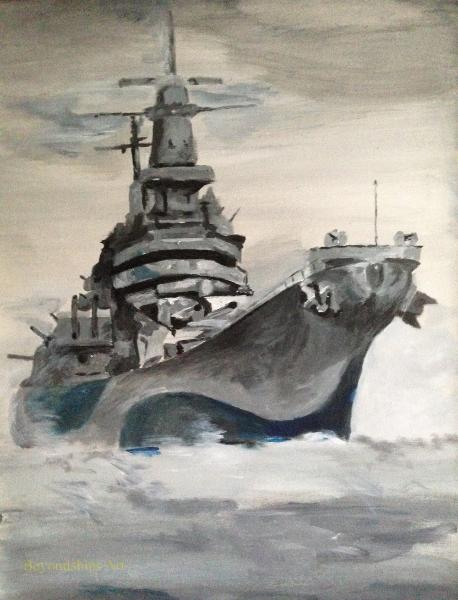 Maritime painting by Rich Wagner,, Ioaw class battleship