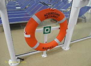 life preserver on Norwegian Getaway cruise ship